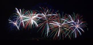 在Carcassonne节日的烟花2012年7月14日 免版税库存照片