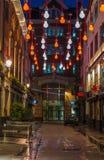 在Carnaby街,伦敦英国上的圣诞灯 图库摄影