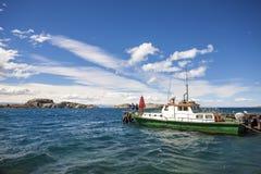 在Carrera Lake将军的小船在智利奇哥。 免版税图库摄影