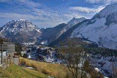 在Casso附近的冬天风景 库存图片