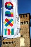 在Castello Sforzesco,米兰前面的商展横幅 免版税库存照片