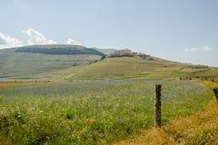 在Castelluccio二诺尔恰的进展的时间,意大利 免版税库存照片