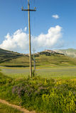 在Castelluccio二诺尔恰的进展的时间,意大利 库存图片
