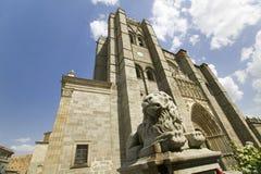 在Catedral de i? ¿ ½维拉ï ¿ ½ ï ¿ ½维拉主教的座位,阿维拉大教堂,最旧的哥特式教会前面的狮子雕象在老的西班牙 库存图片