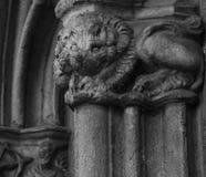在cathedralÂ的专栏的亲切的狮子 库存照片