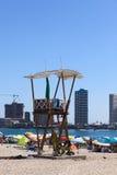 在Cavancha海滩的救生员城楼在伊基克,智利 免版税库存图片