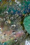 水滴在CD和DVD的 库存图片