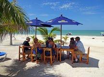 在Celestun海滩的热带假日 库存照片