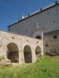 在Cerveny Kamen城堡的干燥护城河 图库摄影