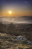 在Cetatuia的美好的日落 库存图片