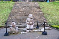 在Cetho寺庙/Candi Cetho的Sciulpture 免版税库存图片