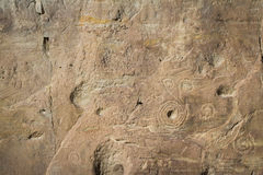 在Chaco峡谷的岩石艺术 免版税库存照片