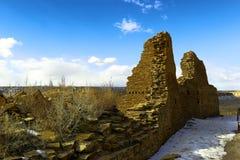 在Chaco峡谷的废墟 库存照片