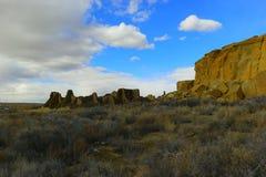 在Chaco峡谷的废墟 库存图片