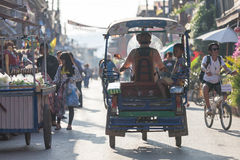 在Chaing可汗, Loei,泰国的古典自动人力车 免版税库存图片