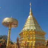 在Chaing mai寺庙的金黄stu pa,在泰国北部 图库摄影