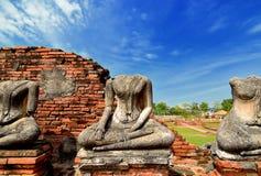 在Chaiwattanaram寺庙的老菩萨雕象在阿尤特拉利夫雷斯历史公园 库存图片