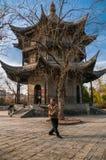 在Changsheng亭子,扬州,中国前面的太极拳 免版税库存图片