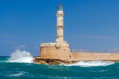 在Chania的灯塔 希腊 库存图片