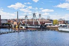 在Charlestown半岛的船在波士顿麻省 库存照片