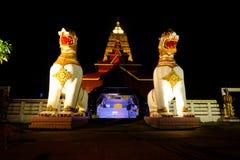 在Chedi Buddhakhaya的东南亚国家联盟白色狮子雕象 库存图片