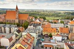 在Chelmno -波兰的鸟瞰图。 免版税库存照片