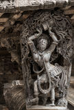 在Chennakeshava寺庙的美好的雕塑在贝鲁尔,卡纳塔克邦,印度 库存照片