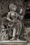 在Chennakeshava寺庙的美好的雕塑在贝鲁尔,卡纳塔克邦,印度 免版税图库摄影