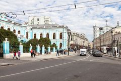 在Chertkov议院附近的Myasnitskaya街道 免版税库存图片