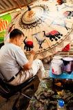 在Chiand Mai的伞绘画,泰国 免版税库存图片