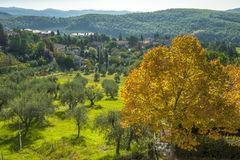 在Chianti之外镇,托斯卡纳意大利 图库摄影