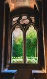 在Chillon城堡的一个窗口在瑞士 库存图片