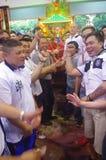 在Chingay节日期间的健壮献身者 库存照片