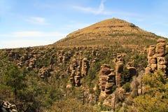 在Chiricahua国家历史文物,亚利桑那的不祥之物形成 库存照片