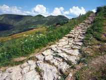 在Chleb峰顶的旅游道路 库存照片