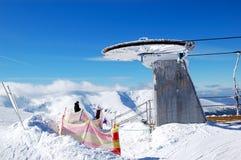 在Chopok山上面的老空中览绳驻地  库存图片