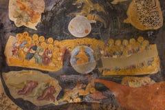 在Chora教会的天花板的壁画装饰在伊斯坦布尔,土耳其 免版税库存图片