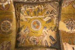 在Chora教会的天花板的马赛克盘区在伊斯坦布尔,土耳其 免版税库存照片