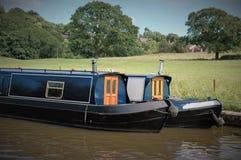 在Chorley,兰开夏郡附近的运河驳船 库存照片