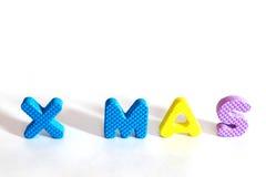 在chrismas天设置的塑料字母表信件 免版税库存图片