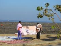 在Chuim村庄Bandra附近的洗涤的洗衣店 免版税库存照片