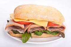在ciabatta三明治上添面包 图库摄影