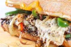 在ciabatta的鲜美素食三明治 免版税库存照片