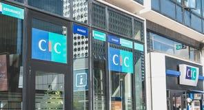 在CIC机构的标志的特写镜头  图库摄影