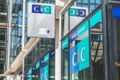 在CIC机构的标志的特写镜头  免版税库存图片