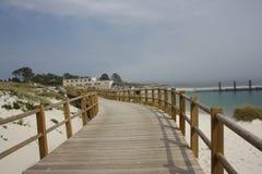 在Cies海岛,加利西亚使看法靠岸 图库摄影