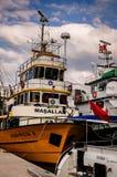 在Cinarcik镇口岸的捕鱼船  免版税库存图片