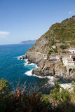 在Cinque美好的海岸线的美好的海岸线在Cinque Terre, 免版税库存图片