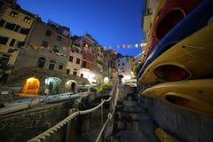 在Cinque Terre的黄昏 库存图片