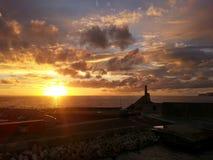 在Cirkewwa马耳他的日落 库存图片